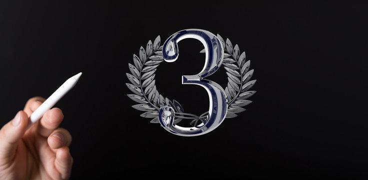 Three or 3  Years award Digital number award Anniversary 3d.