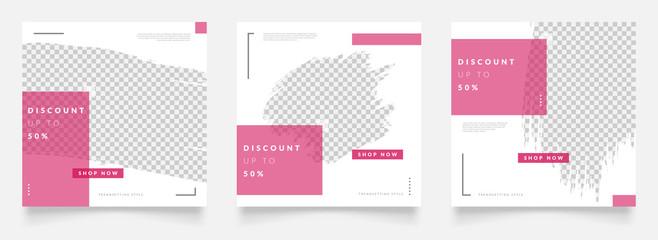 Fototapeta social media post template for digital marketing and sale promo. fashion advertising. instagram banner offer. pink color. mockup photo vector frame illustration