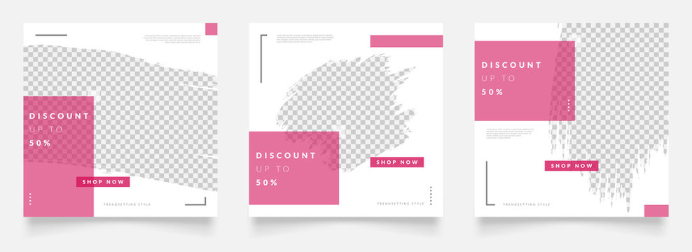 social media post template for digital marketing and sale promo. fashion advertising. instagram banner offer. pink color. mockup photo vector frame illustration