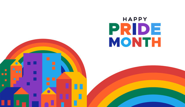 Happy pride month illustration of colorful rainbow city for gay rights event or celebration.