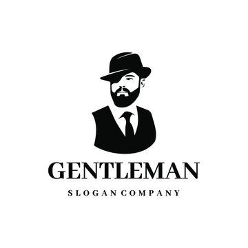 Gentleman logo design. Awesome our combination man with hat & beard logo. A gentleman logotype.