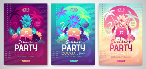 Set of Colorful summer disco party posters with fluorescent tropic leaves, pineapple and flamingo. Summertime backgrounds