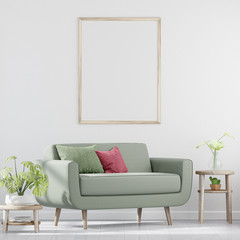 Green sofa in the white living room, Blank poster on white wall, 3D Rendering