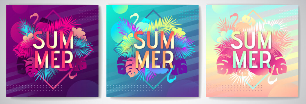 Set of Colorful summer party posters with fluorescent tropic leaves and flamingo. Summertime background