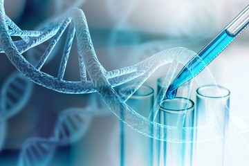 Science laboratory test tubes and DNA structure
