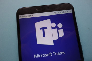 KONSKIE, POLAND - November 12, 2018: Microsoft Teams logo displayed on smartphone