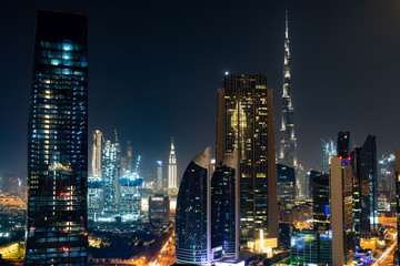 Dubai skyline in the night time, United Arab Emirates