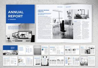 Traditional Corporate Report Layout with Blue Accents