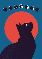 Katze und Mond