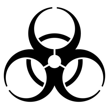 gz759 GrafikZeichnung - german: Biogefährdung Symbol. english: black biohazard icon. biological hazard warning sign - simple template isolated on white background - square xxl g9155