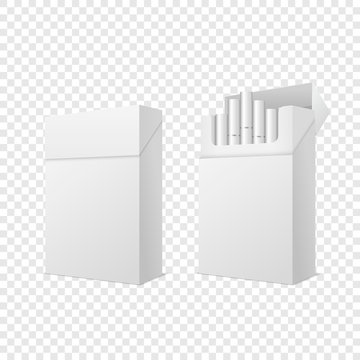 Vector Realistic Closed and Opened Clear Blank Empty and with Cigarettes Pack Box Set Isolated on Transparent Background. Design Template. Smoke Problem Concept, Tobacco, Cigarette Mockup. Side View