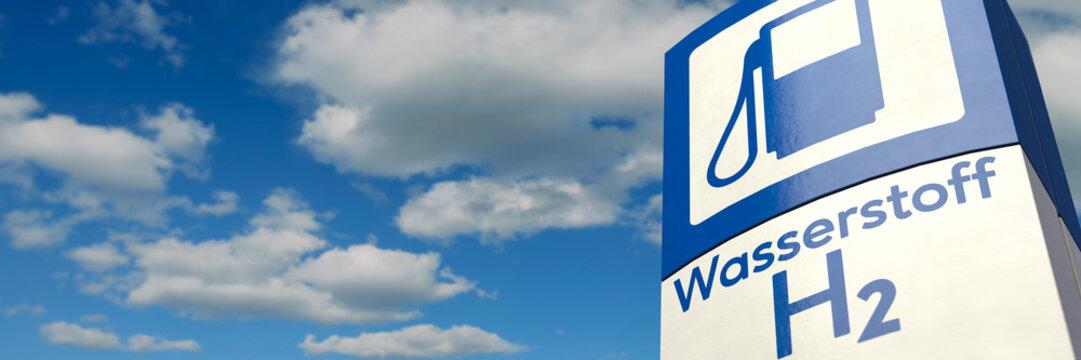 Schild Wasserstoff-Tankstelle