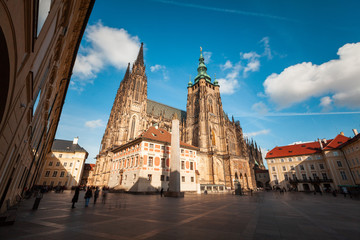 Exterior view of St. Vitus Cathedral in Prague, Czech Republic