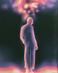 Android human mind-blowing Retro futuristic illustration