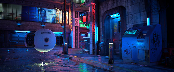 Bright neon night in a cyberpunk city. Photorealistic 3D illustration of the futuristic city. Empty street with blue, green and purple neon lights. Huge luminous billboard on a wall of building. Fotomurales