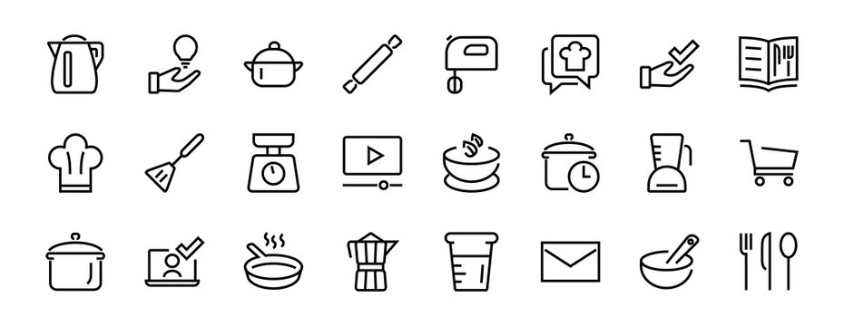 Set of icons for cooking and kitchen, vector lines, contains icons such as a knife, saucepan, boiling time, mixer, scales, recipe book. Editable stroke, perfect 480x480 pixels, white background