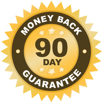 90 Day Money Back Guarantee product label or badge or sticker image isolated on white background