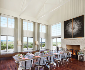 Conference room and fireplace at a luxury resort