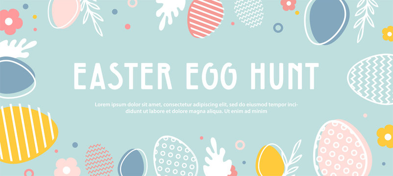 abstract banner template for Easter Egg hunt . Greeting card, poster or banner with bunny, flowers and Easter egg. Spring background