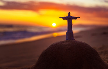 Cristo Redentor On Famous Ipanema Beach At Sunset Rio De Janeiro