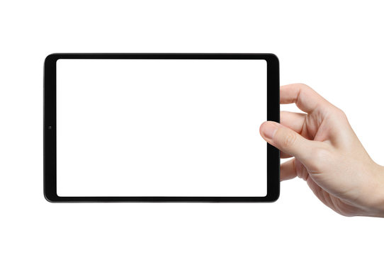 Hand holding black tablet, isolated on white background