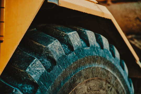 large tractor tire up-close