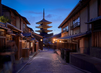 Famous street in Gion, Kyoto, Japan at dusk
