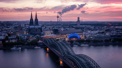 Koln Germany city skyline, Cologne skyline during sunset ,Cologne bridge with cathedral Germany Europe Fototapete