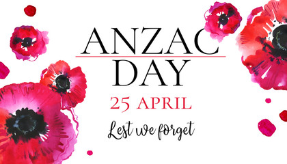 Anzac day banner design template. Title Lest we forget and different red poppies. Hand drawn watercolor sketch illustration