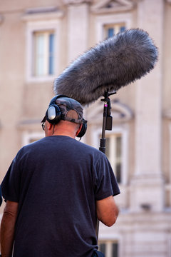 Sound recorder with microphone, boom mic and headphones