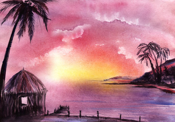 Acrylic Prints Candy pink Calm Abstract watercolor tropical landscape. Romantic purple pink sky clouds. Islands with palm trees, bungalows on shore. Wooden walkway into water. Idyllic sunset sunrise. Hand drawn illustration