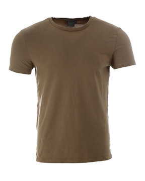 Stylish t-shirt on mannequin against white background. Men's clothes