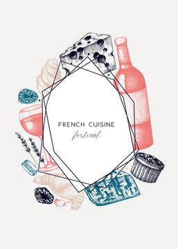 French cuisine menu design . Hand drawn vector food and drink festival dishes illustrations. Vintage style french food and beverages restaurant menu template. Chalkboard background