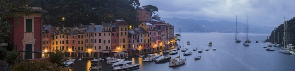 Panoramic view of Portofino in the evening with city lights