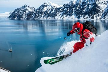 Man skiing backcountry in Jan Mayen