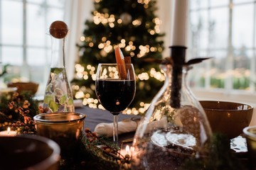 traditional Swedish glogg drink on a decorated table at Christmas