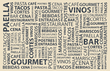 Custom vertical slats for kitchen with your photo Food words wallpaper in spanish, latin flavor