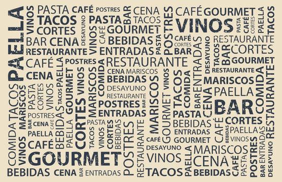 Food words wallpaper in spanish, latin flavor