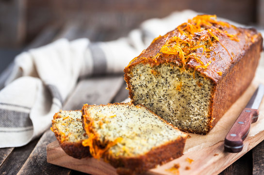 Delicious homemade orange and poppy seeds loaf cake
