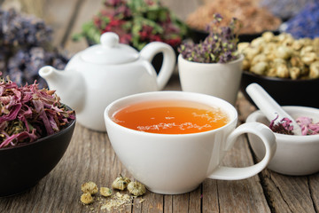 Obraz Healthy herbal tea cup. Teapot and  medicinal herbs on table. Herbal medicine. - fototapety do salonu