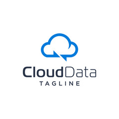 blue sky line art of cloud storage logotype data share logo vector