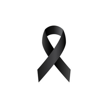 Black ribbon, mourning symbol simple isolated vector icon. Rip realistic glyph sign.