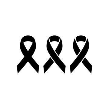 Black ribbon, mourning symbol simple isolated vector icon. Rip glyph sign.
