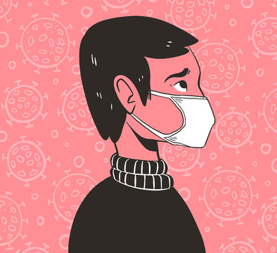 Illustration of person in a medical face mask