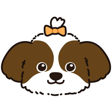 Outlined brown Shih Tzu head with yellow ribbon