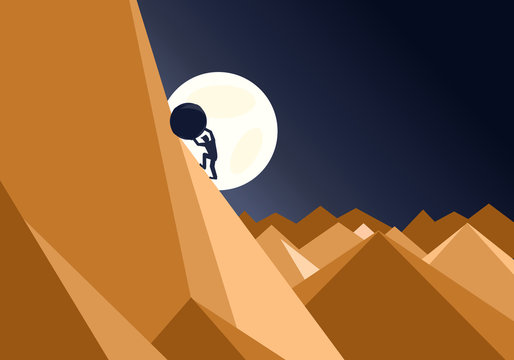 Sisyphus concept of a man pushing a huge rock up a mountain in an impossible task showing determination and endurance