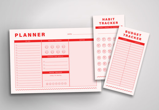 Red and Pink Planner Layout