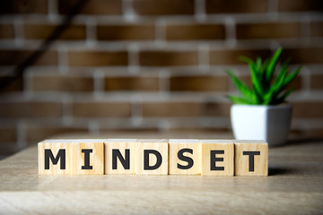Mindset Word Written In Wooden Cube, business concept.