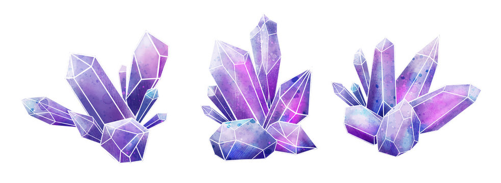 Galaxy gems collection, wet watercolor crystals, hand drawn
