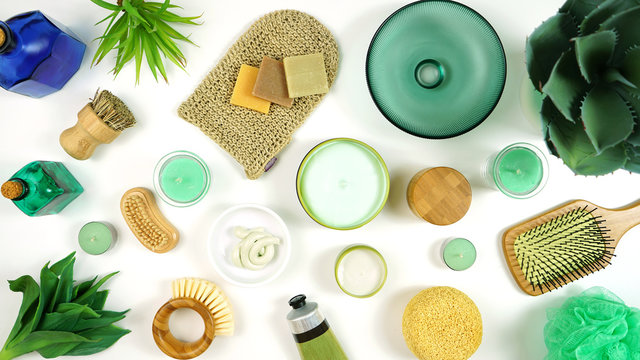 Natural hemp skincare, cosmetics, moisturizer creams and beauty products made from a strain of the Cannabis sativa plant species that is grown specifically for industrial uses.